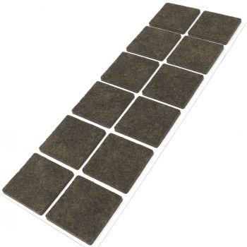 12 x Filzgleiter / 40x40 mm / Braun / quadratisch / 3.5 mm starke selbstklebende Filz-Möbelgleiter in Top-Qualität