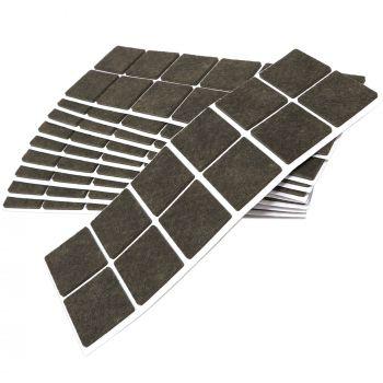 120 x Filzgleiter / 40x40 mm / Braun / quadratisch / 3.5 mm starke selbstklebende Filz-Möbelgleiter in Top-Qualität