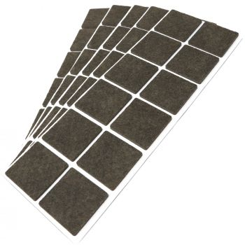 60 x Filzgleiter / 40x40 mm / Braun / quadratisch / 3.5 mm starke selbstklebende Filz-Möbelgleiter in Top-Qualität
