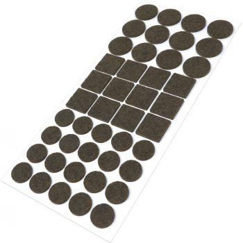 44 x Filzgleiter / Braun / verschiedene Größen / Ø 28 mm / Ø 20 mm / 25x25 mm / 3.5 mm starke selbstklebende Filz-Möbelgleiter in Top-Qualität