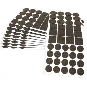 440 x Filzgleiter / Braun / verschiedene Größen / Ø 28 mm / Ø 20 mm / 25x25 mm / 3.5 mm starke selbstklebende Filz-Möbelgleiter in Top-Qualität