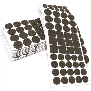 880 x Filzgleiter / Braun / verschiedene Größen / Ø 28 mm / Ø 20 mm / 25x25 mm / 3.5 mm starke selbstklebende Filz-Möbelgleiter in Top-Qualität