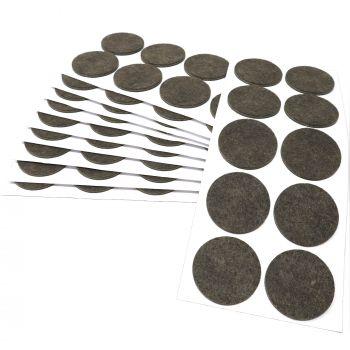 100 x Filzgleiter / Ø 45 mm / Braun / rund / 3.5 mm starke selbstklebende Filz-Möbelgleiter in Top-Qualität