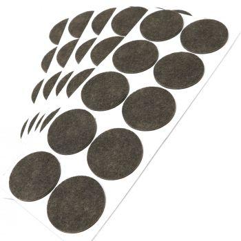 50 x Filzgleiter / Ø 45 mm / Braun / rund / 3.5 mm starke selbstklebende Filz-Möbelgleiter in Top-Qualität
