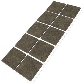 10 x Filzgleiter / 45x45 mm / Braun / quadratisch / 3.5 mm starke selbstklebende Filz-Möbelgleiter in Top-Qualität