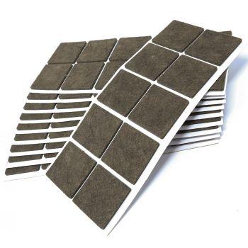 100 x Filzgleiter / 45x45 mm / Braun / quadratisch / 3.5 mm starke selbstklebende Filz-Möbelgleiter in Top-Qualität