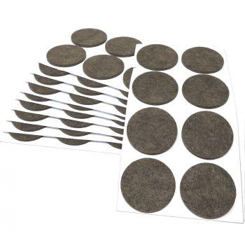 80 x Filzgleiter / Ø 50 mm / Braun / rund / 3.5 mm starke selbstklebende Filz-Möbelgleiter in Top-Qualität