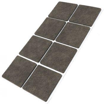 8 x Filzgleiter / 50x50 mm / Braun / quadratisch / 3.5 mm starke selbstklebende Filz-Möbelgleiter in Top-Qualität