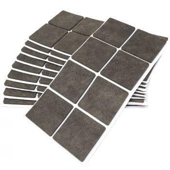 80 x Filzgleiter / 50x50 mm / Braun / quadratisch / 3.5 mm starke selbstklebende Filz-Möbelgleiter in Top-Qualität