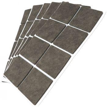 40 x Filzgleiter / 50x50 mm / Braun / quadratisch / 3.5 mm starke selbstklebende Filz-Möbelgleiter in Top-Qualität