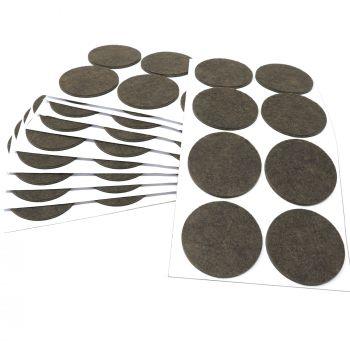 80 x Filzgleiter / Ø 60 mm / Braun / rund / 3.5 mm starke selbstklebende Filz-Möbelgleiter in Top-Qualität