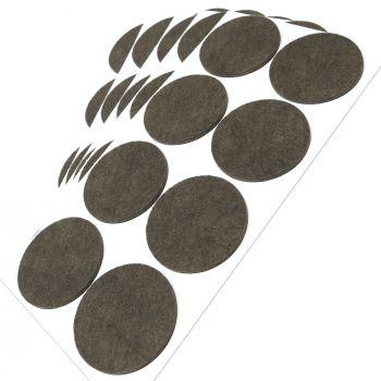 40 x Filzgleiter / Ø 60 mm / Braun / rund / 3.5 mm starke selbstklebende Filz-Möbelgleiter in Top-Qualität