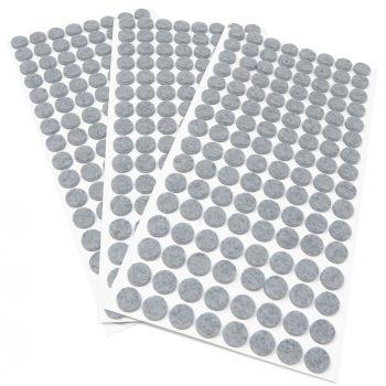 384 x Filzgleiter / Ø 12 mm / Grau / rund / 3.5 mm starke selbstklebende Filz-Möbelgleiter in Top-Qualität