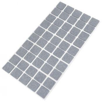 50 x Filzgleiter / 20x20 mm / Grau / quadratisch / 3.5 mm starke selbstklebende Filz-Möbelgleiter in Top-Qualität