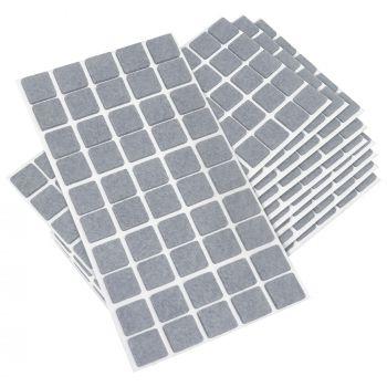 500 x Filzgleiter / 20x20 mm / Grau / quadratisch / 3.5 mm starke selbstklebende Filz-Möbelgleiter in Top-Qualität