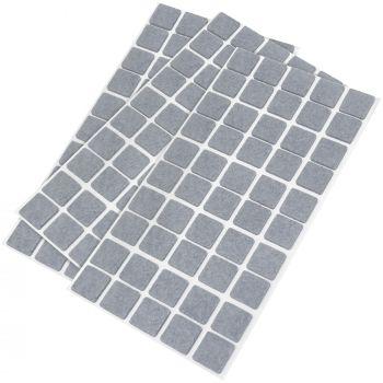 150 x Filzgleiter / 20x20 mm / Grau / quadratisch / 3.5 mm starke selbstklebende Filz-Möbelgleiter in Top-Qualität