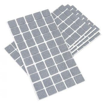 250 x Filzgleiter / 20x20 mm / Grau / quadratisch / 3.5 mm starke selbstklebende Filz-Möbelgleiter in Top-Qualität