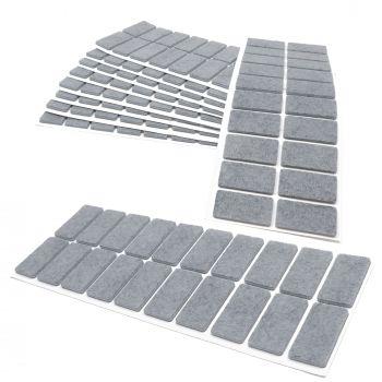200 x Filzgleiter / 20x40 mm / Grau / rechteckig / 3.5 mm starke selbstklebende Filz-Möbelgleiter in Top-Qualität