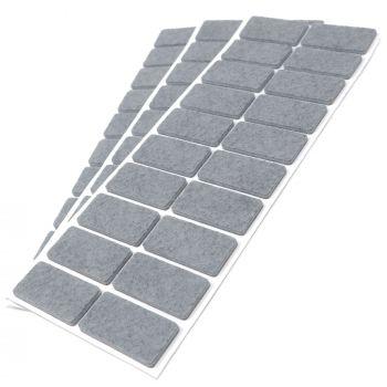 60 x Filzgleiter / 20x40 mm / Grau / rechteckig / 3.5 mm starke selbstklebende Filz-Möbelgleiter in Top-Qualität