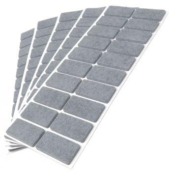 100 x Filzgleiter / 20x40 mm / Grau / rechteckig / 3.5 mm starke selbstklebende Filz-Möbelgleiter in Top-Qualität