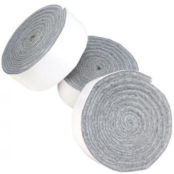 3 x selbstklebende Filzbänder zum Zuschneiden | 24x1000 mm | Grau | Rolle | 3.5 mm starker selbstklebender Filzzuschnitt in Top-Qualität