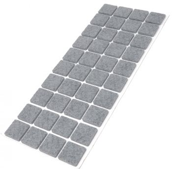 40 x Filzgleiter / 25x25 mm / Grau / quadratisch / 3.5 mm starke selbstklebende Filz-Möbelgleiter in Top-Qualität