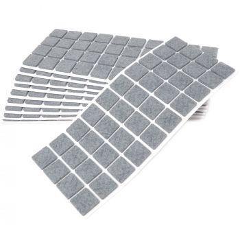 400 x Filzgleiter / 25x25 mm / Grau / quadratisch / 3.5 mm starke selbstklebende Filz-Möbelgleiter in Top-Qualität
