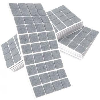 800 x Filzgleiter / 25x25 mm / Grau / quadratisch / 3.5 mm starke selbstklebende Filz-Möbelgleiter in Top-Qualität