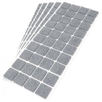 200 x Filzgleiter / 25x25 mm / Grau / quadratisch / 3.5 mm starke selbstklebende Filz-Möbelgleiter in Top-Qualität