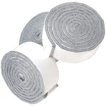 3 x selbstklebende Filzbänder zum Zuschneiden | 29x1000 mm | Grau | Rolle | 3.5 mm starker selbstklebender Filzzuschnitt in Top-Qualität