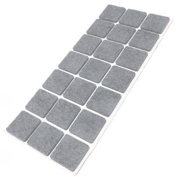 21 x Filzgleiter / 30x30 mm / Grau / quadratisch / 3.5 mm starke selbstklebende Filz-Möbelgleiter in Top-Qualität