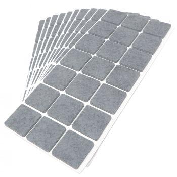 210 x Filzgleiter / 30x30 mm / Grau / quadratisch / 3.5 mm starke selbstklebende Filz-Möbelgleiter in Top-Qualität