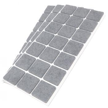 63 x Filzgleiter / 30x30 mm / Grau / quadratisch / 3.5 mm starke selbstklebende Filz-Möbelgleiter in Top-Qualität