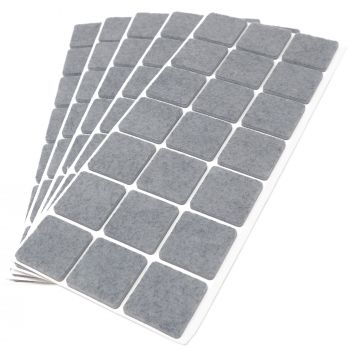 105 x Filzgleiter / 30x30 mm / Grau / quadratisch / 3.5 mm starke selbstklebende Filz-Möbelgleiter in Top-Qualität