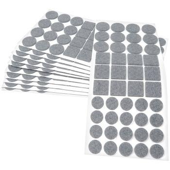 440 x Filzgleiter / Grau / verschiedene Größen / Ø 28 mm / Ø 20 mm / 25x25 mm / 3.5 mm starke selbstklebende Filz-Möbelgleiter in Top-Qualität