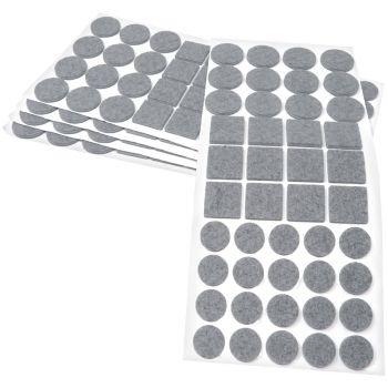 220 x Filzgleiter / Grau / verschiedene Größen / Ø 28 mm / Ø 20 mm / 25x25 mm / 3.5 mm starke selbstklebende Filz-Möbelgleiter in Top-Qualität
