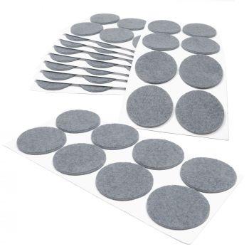 80 x Filzgleiter / Ø 50 mm / Grau / rund / 3.5 mm starke selbstklebende Filz-Möbelgleiter in Top-Qualität