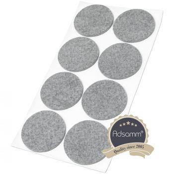 8 x Filzgleiter / Ø 60 mm / Grau / rund / 3.5 mm starke selbstklebende Filz-Möbelgleiter in Top-Qualität