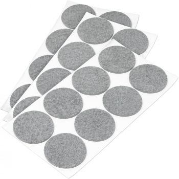 24 x Filzgleiter / Ø 60 mm / Grau / rund / 3.5 mm starke selbstklebende Filz-Möbelgleiter in Top-Qualität
