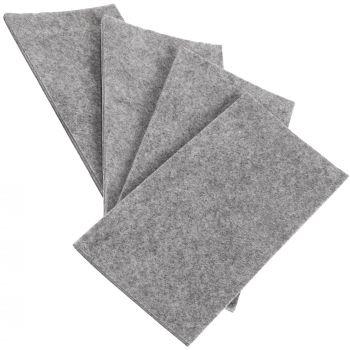 4 x selbstklebende Filzplatte | 80x180 mm | Grau | rechteckig | 3.5 mm starker Filzzuschnitt in Top-Qualität von Adsamm®