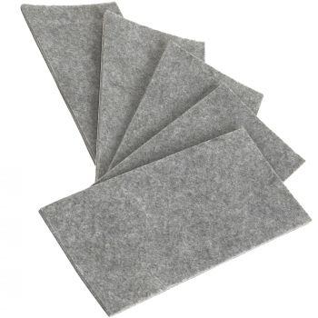 5 x selbstklebende Filzplatte   80x180 mm   Grau   rechteckig   3.5 mm starker Filzzuschnitt in Top-Qualität von Adsamm®