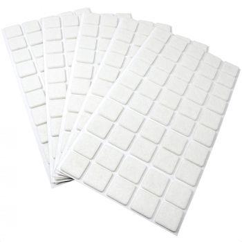 250 x Filzgleiter / 20x20 mm / Weiß / rund / 3.5 mm starke selbstklebende Filz-Möbelgleiter in Top-Qualität