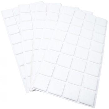 160 x Filzgleiter / 25x25 mm / Weiß / quadratisch / 3.5 mm starke selbstklebende Filz-Möbelgleiter in Top-Qualität