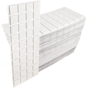 2000 x Filzgleiter / 25x25 mm / Weiß / quadratisch / 3.5 mm starke selbstklebende Filz-Möbelgleiter in Top-Qualität