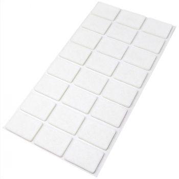 24 x Filzgleiter / 25x35 mm / Weiß / rechteckig / 3.5 mm starke selbstklebende Filz-Möbelgleiter in Top-Qualität