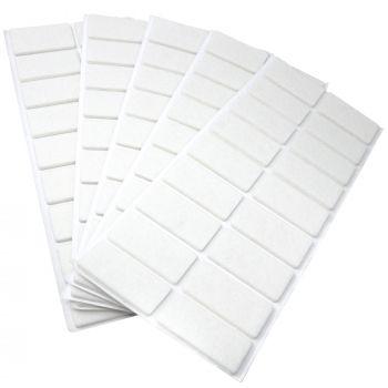 90 x Filzgleiter / 25x50 mm / Weiß / rechteckig / 3.5 mm starke selbstklebende Filz-Möbelgleiter in Top-Qualität