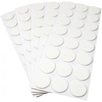 120 x Filzgleiter / Ø 28 mm / Weiß / rund / 3.5 mm starke selbstklebende Filz-Möbelgleiter in Top-Qualität