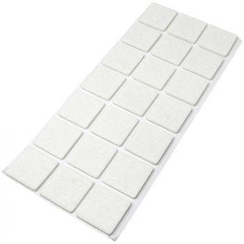 21 x Filzgleiter / 30x30 mm / Weiß / quadratisch / 3.5 mm starke selbstklebende Filz-Möbelgleiter in Top-Qualität