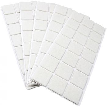 105 x Filzgleiter / 30x30 mm / Weiß / quadratisch / 3.5 mm starke selbstklebende Filz-Möbelgleiter in Top-Qualität