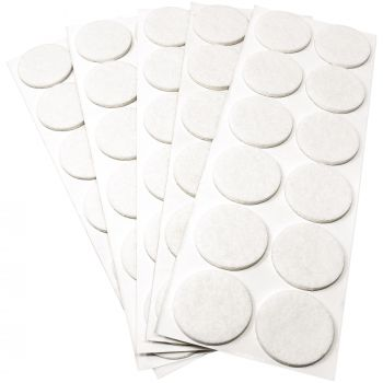 60 x Filzgleiter / Ø 34 mm / Weiß / rund / 3.5 mm starke selbstklebende Filz-Möbelgleiter in Top-Qualität